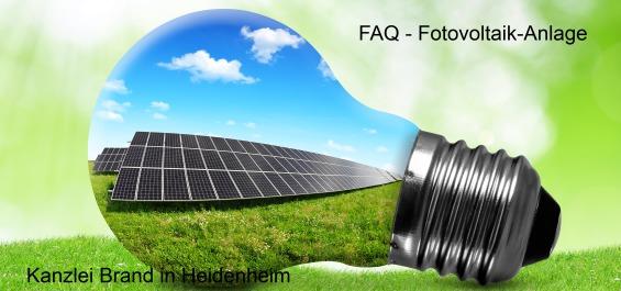 Fragen zur Photovoltaik-Anlage - Antworten Steuerberater Brand